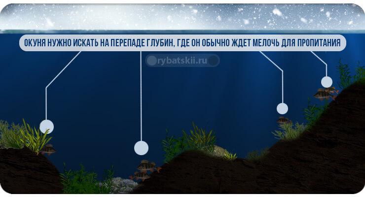 Перепады глубины в водоёме