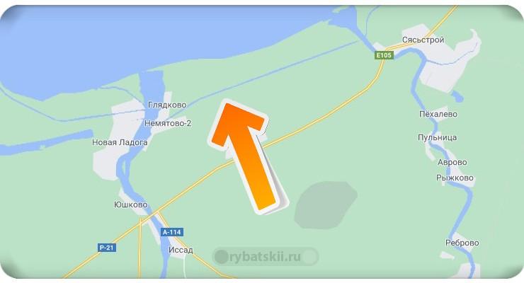 Новоладожский канал на карте