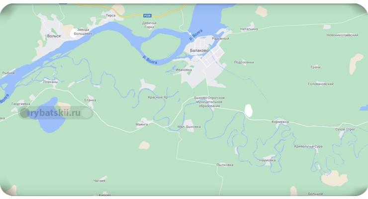 Река Иргиз на карте