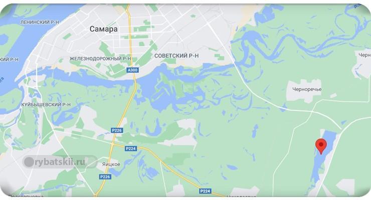 Черновское водохранилище на карте