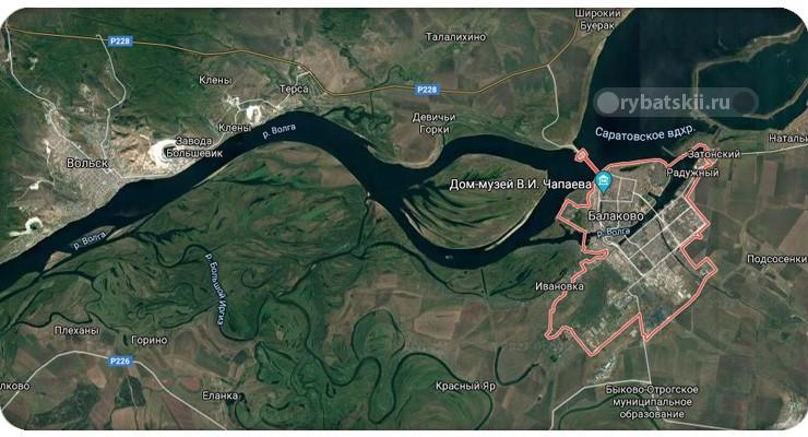 Карта рыбацкого региона Балаково