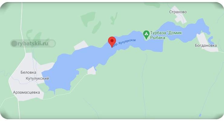 Кутулукское водохранилище на карте