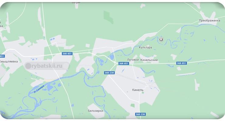 Река Кинель на карте