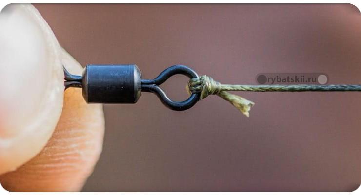 Как правильно привязать леску к вертлюжку