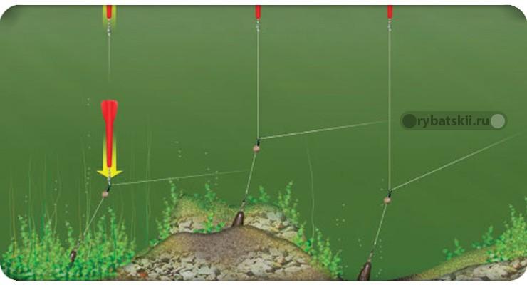 Маркерный груз в водной растительности