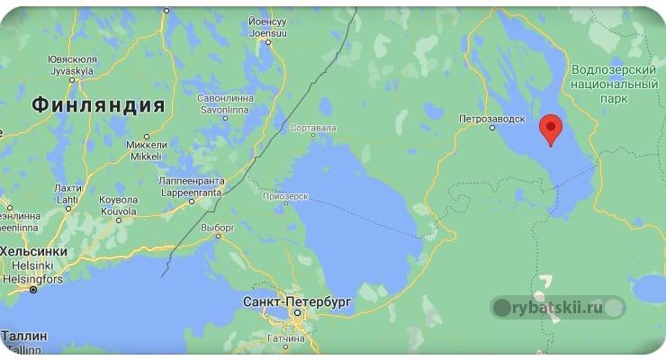 Онежское озеро на карте